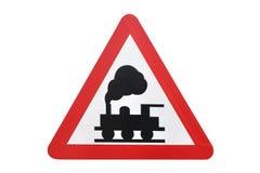Travesía de ferrocarril de la señal de tráfico aislada en el fondo blanco fotografía de archivo libre de regalías