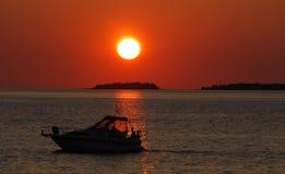 Travesía de la puesta del sol Imagenes de archivo