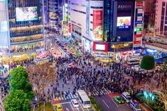 Travesía de Shibuya en la noche fotografía de archivo libre de regalías