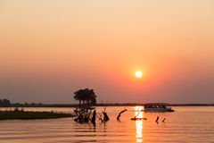 Travesía del barco en Botswana Fotografía de archivo