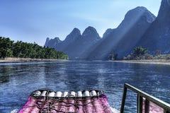 Travesía del río de China Guilin Li imagenes de archivo