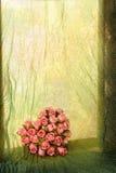 Travesaño de la ventana con el corazón color de rosa Fotografía de archivo