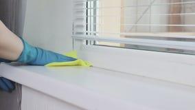 Travesaño de limpieza de la ventana que se lava con un plumero por la mano de una mujer en guante de goma azul almacen de metraje de vídeo