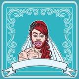 Travesti alegre vermelho do cruz-armário de cabelo e farpado que mostra o dedo médio com anel ilustração royalty free