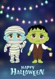 Travestimento di Halloween, costumi svegli dei bambini Caratteri divertenti Carta dell'invito per il partito e la vendita Feste d immagini stock libere da diritti