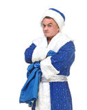 Travesty Actors Genre Depict Santa Claus. On white background Royalty Free Stock Photo