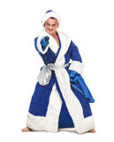 Travesty Actors Genre Depict Santa Claus. On white background Royalty Free Stock Photography