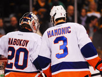 Travis Hamonic and Evgeni Nabokov Stock Photos