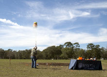 Travis Mears destroying a watermelon. With a shotgun during a shooting exhibition at the old florida outdoor festival held feb 11-12 in Apopka, Floridas Royalty Free Stock Photo