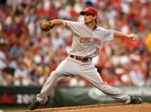 Travis Wood. Cincinnati starter Travis Wood delivers a pitch at Philadelphia Royalty Free Stock Photo