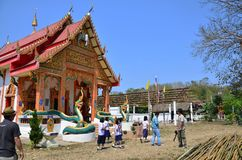 Travlers thai people go to Wat Don Moon temple for praying Royalty Free Stock Photography