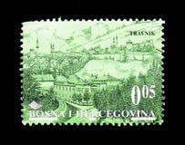 Travnik, viejo serie de las ciudades, circa 1998 fotografía de archivo