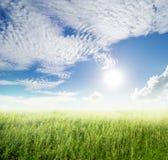 Traw chmur i poly niebo w pięknym dniu Fotografia Royalty Free