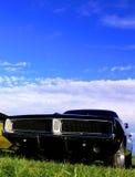 trawa amerykański czarny samochodowy klasyczny mięsień Obraz Stock