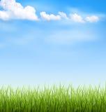 Trawa gazon z chmurami na niebieskim niebie royalty ilustracja