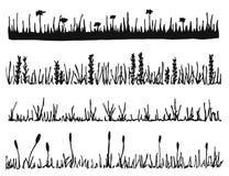 Trawa i rośliny wektorowi gazon odizolowywający ilustracja wektor