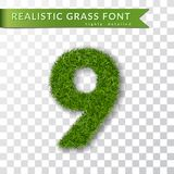 Trawa liczba dziewięć Zielona liczba 9, odizolowywająca na białym przejrzystym tle Zielona trawa 3D dziewięć, świeży symbol natur ilustracji