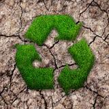 Trawa przetwarza ekologia znaka na krakingowej ziemi zdjęcia royalty free