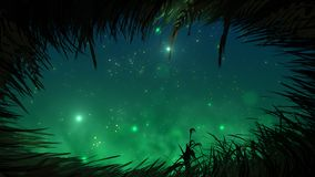 Trawa przy nocą z świetlik pętlą ilustracji