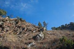 TRAWA ZAKRYWAJĄCY comber MIĘDZY wzgórzami PRZECIW niebieskiemu niebu obrazy royalty free