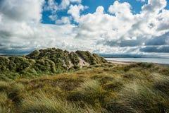 Trawiaści piasek diun burzowi nieba Zdjęcia Royalty Free