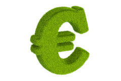 Trawiasty euro symbol, 3D rendering ilustracji