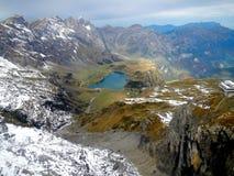 Trawiasty jezioro przy Szwajcarskimi Alps Fotografia Royalty Free