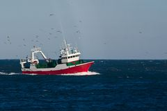Trawl Fishing. Sea Fish Vessel Fisheries Stock Image