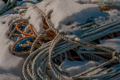 Trawl Lines in Snow Stock Photo