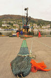 Trawl net repairs, Tarbert, Scotland Stock Photography