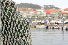 Trawl on ship. Trawl drying on a port of Galicia, Spain stock photos