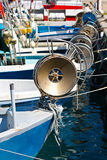 Trawl Winch. On the Deck of Fishing Boat stock photo