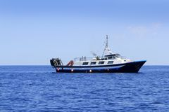 Trawler boat working in mediterranean offshore Stock Photography