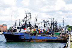 Trawler equipement fishing boat sea ocean Royalty Free Stock Photography