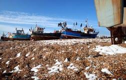 Trawler fishing boat industry Hastings England. Fishing industry, trawler or fishing boat on the beach in seaside resort of Hastings in England. South UK Royalty Free Stock Image