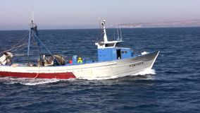 Trawler fishing boat stock footage
