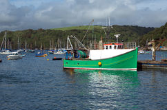 Trawler in Fowey estuary, Cornwall, UK Stock Image