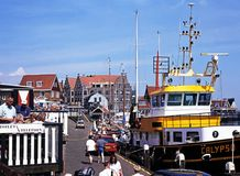 Trawler in harbour, Volendam. Stock Photos