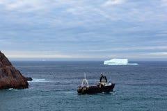 Trawler and Iceberg Stock Image