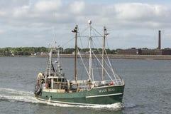 Trawler Seven Seas returning to New Bedford. New Bedford, Massachusetts, USA - June 3, 2018: Commercial fishing vessel Seven Seas approaching for New Bedford Stock Images