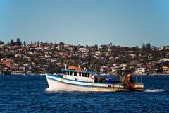 Trawler in Sydney Harbour stock photos