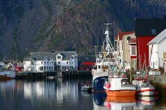 Trawlers in the lofoten islands. Trawlers moored in the port of henningsvaer (lofoten islands) before the fishing season Royalty Free Stock Image