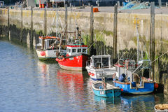 Trawlers moored in Padstow, Cornwall, UK  outer harbour Royalty Free Stock Photos