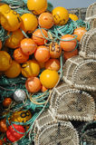 Trawling equipment. And lobster pots onboad a fishing boat stock image
