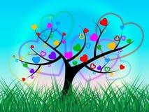 Trawy drzewo Znaczy niebo naturę I gazon ilustracji