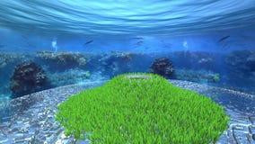 Trawy góra otaczająca przegranym miastem pod oceanem zbiory wideo