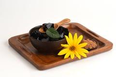 Trawy galareta, warzywo galareta, czarna w kolorze, jedzącym z cukierem (Mesona chinensis) Zdjęcie Royalty Free