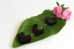 Trawy galareta, warzywo galareta, czarna w kolorze, jedzącym z cukierem (Mesona chinensis) Zdjęcie Stock