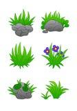 Trawy i kamienia set ilustracja wektor