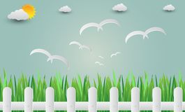 Trawy ogrodzenie z ptakami lata w niebo Papierowa sztuka illu Zdjęcia Stock
